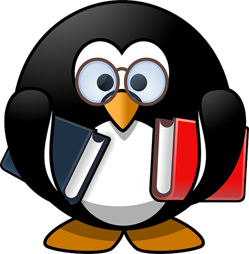 A penguin in glasses holding a book under each fin.